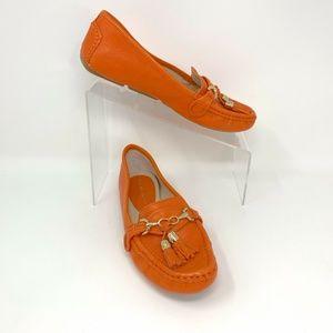 Antonio Melani Orange Leather Tasselled Flat